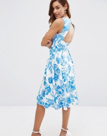 Asos Cut Out Back Midi Dress In Blue Floral Print afbeelding