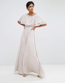 Asos Flutter Sleeve Maxi Dress With Embellished Waist Trim afbeelding