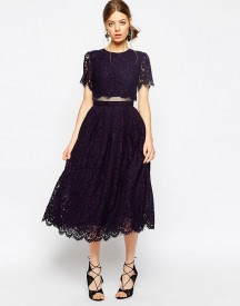 Asos Lace Crop Top Midi Prom Dress afbeelding
