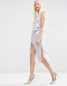 Asos Metallic Drape Front Midi Dress afbeelding