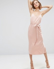 Asos Midi Slip Dress In Satin With Tie Waist afbeelding
