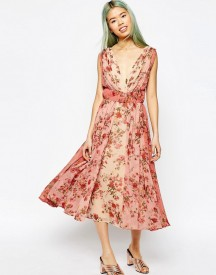 Asos Ombre Pretty Floral Midi Prom Dress afbeelding