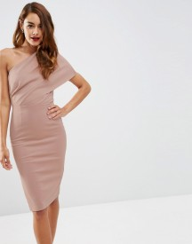 Asos One Shoulder Scuba Deep Fold Midi Dress With Exposed Zip afbeelding