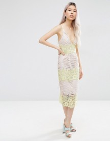 Asos Pastel Stripe Lace Panel Midi Pencil Dress afbeelding