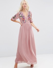Asos Premium Wrap Maxi Dress With Embroidered Peacock And Flower Detail afbeelding
