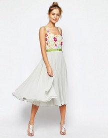 Asos Salon Embellished Floral Bodice Midi Skater Dress With Green Grosgrain afbeelding