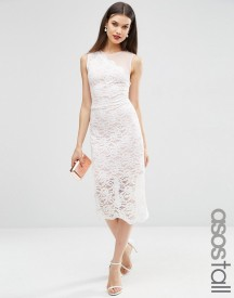 Asos Tall Lace Placed Scallop Hem Midi Dress afbeelding