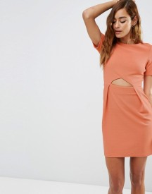 Asos Tulip Mini Dress With Cut Out In Texture afbeelding