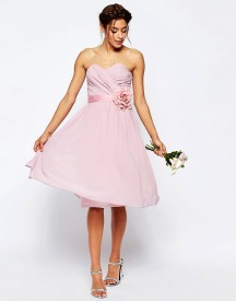 Asos Wedding Chiffon Midi Bandeau Dress With Detachable Corsage Belt afbeelding