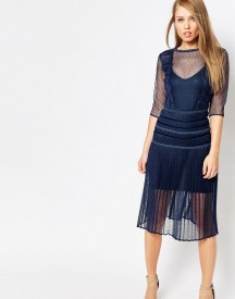 Body Frock Louisa Sculpting Dress With Pleat Skirt And Lace afbeelding