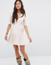 Free People Ma Cherie Mini Dress With Pintucks And Lace afbeelding
