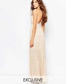 Frock And Frill Embellished Plunge Neck Maxi Dress With Open Back afbeelding