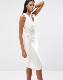 Lavish Alice Rib Knit Tie Wrap Front Open Ring Detail Midi Dress afbeelding