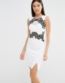 Lipsy Floral And Mesh Bodycon Midi Dress afbeelding