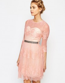 Little Mistress Lace Dress With Waist Embellishment afbeelding