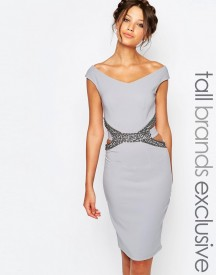 Little Mistress Tall Pencil Dress With Embellished Cutout Waist Detail afbeelding
