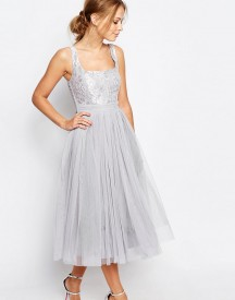 Little Mistress Tulle Midi Dress With Lace afbeelding