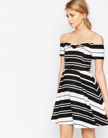 Oasis Textured Stripe Bardot Dress afbeelding