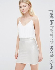 Tfnc Petite 2 In 1 Cami Strap Pencil Dress With Metallic Detail Skirt afbeelding