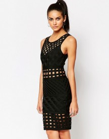 Wow Couture Criss Cross Detail Bandage Midi Dress afbeelding