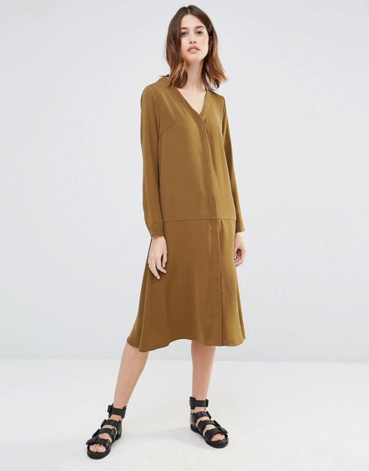 Image Warehouse Dropped Waist Shirt Dress