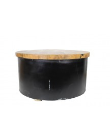 Salontafel Drum - Black Resin - Teak/ijzer afbeelding