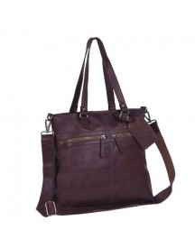 Chesterfield Leren Shopper Cleo Wax Pull Up Donker Cognac afbeelding