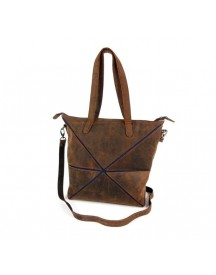 Leather Design Vouwtas Damestas Shopper Hunter Bruin Jeans afbeelding