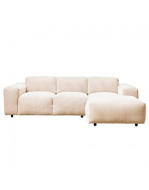Modern Earth Nora Bank Hoekbank Rechts Chaise Longue + 2-zits Stof Copparo - Beige afbeelding