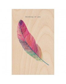 Timbergram Houten Poster 29,7x42 Cm - Feather afbeelding